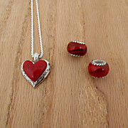 Recently Completed Red Open Floral Edge Heart and Bloombeads
